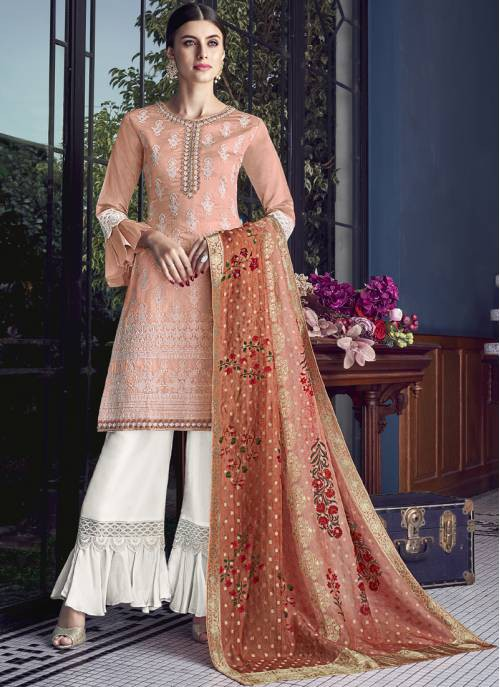 Craftsvilla Orange Silk Embroidered Semi-stitched Palazzo Suit