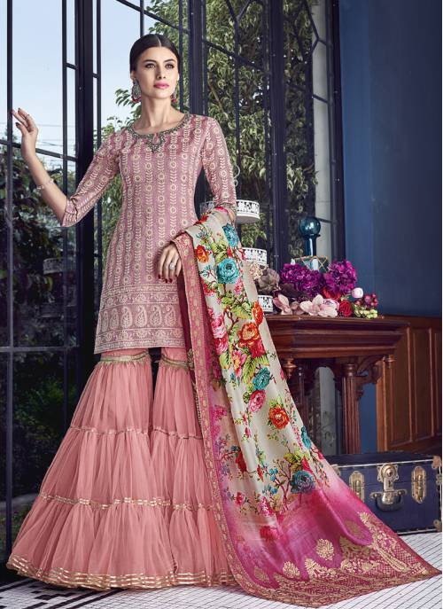 Craftsvilla Peach Silk Embroidered Semi-stitched Palazzo Suit