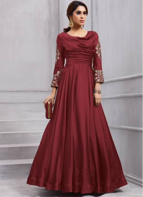 Craftsvilla Maroon Color Silk Embroidered Semi-stitched Circular Anarkali Suit
