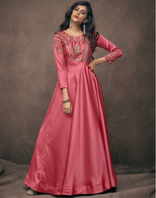 Craftsvilla Peach Satin Designer Floral Embroidered Readymade Gown