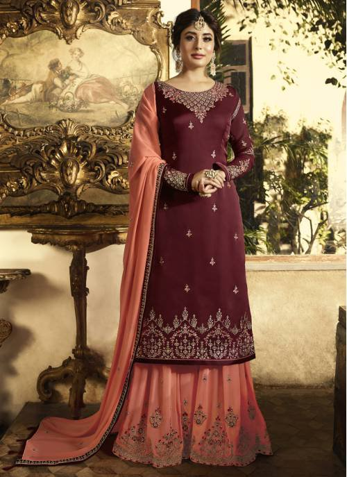 Craftsvilla Maroon Georgette Embroidered Semi Stitched Palazzo Suit