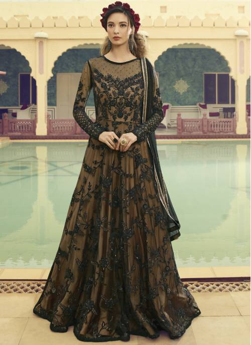 Black Net Embroidered Semi-stitched Circular Anarkali Suit