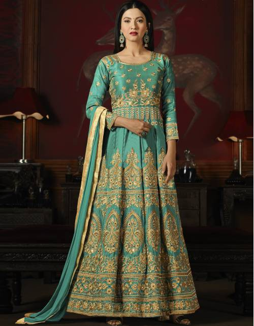 Craftsvilla Sky Blue Silk Embroidered Semi-stitched Circular Anarkali Suit
