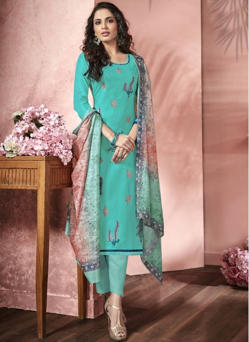 Craftsvilla Turquoise Satin Embroidered Semi-stitched Straight Suit