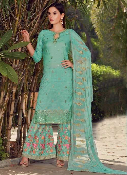 Turquoise Silk Embroidered Semi-stitched Straight Suit