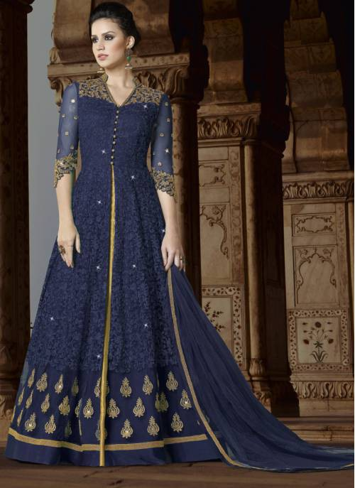 Craftsvilla Navy Color Net Embroidered Semi-stitched Circular Anarkali Suit
