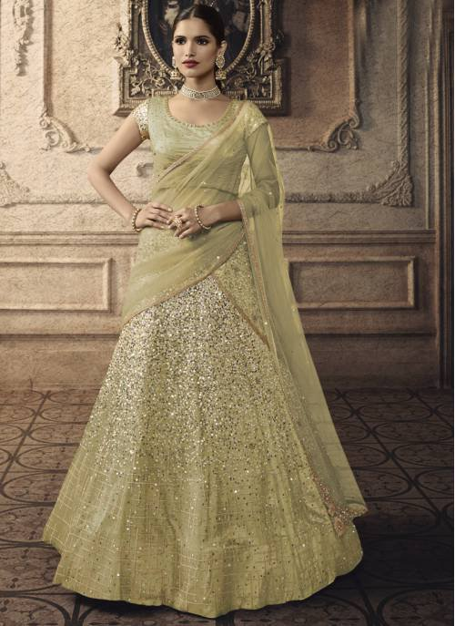 Yellow Net Embroidered Flared Semi-stitched Lehenga Choli