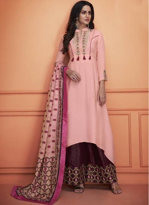 Craftsvilla Pink Silk Embroidered Readymade Palazzo Suit