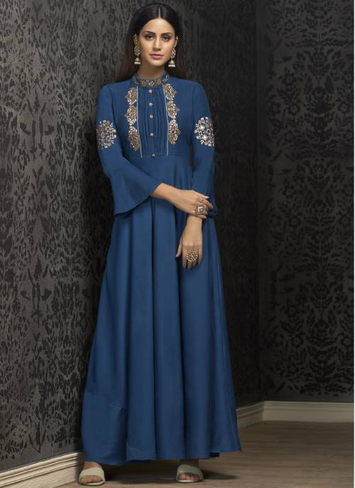 Craftsvilla Teal Blue Silk Embroidered Circular Semi-stitched Gown