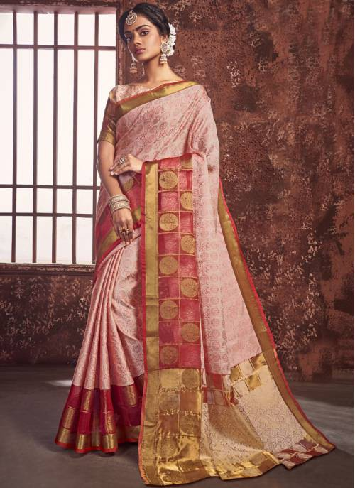 Peach Silk Designer Printed Saree With Unstitched Blouse Material