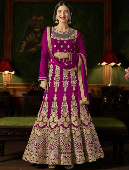 Craftsvilla Pink Silk Embroidered Circular Semi-stitched Anarkali Suit