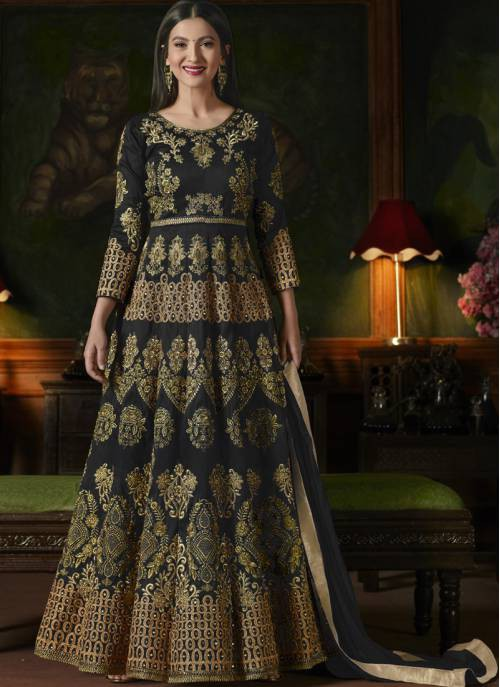 Craftsvilla Black Color Silk Embroidered Semi-stitched Circular Anarkali Suit