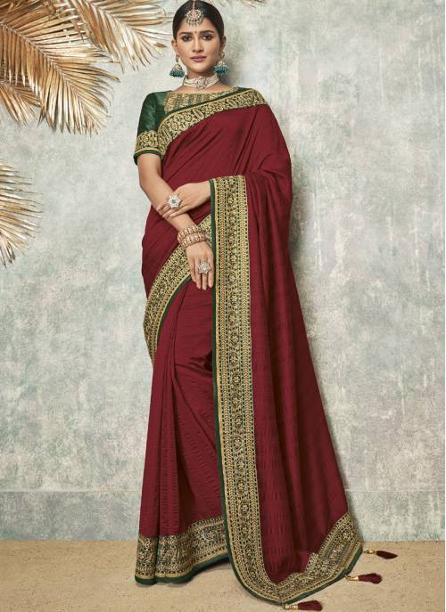 Maroon Silk Blend Lace Work Designer Saree With Unstitched Blouse Material