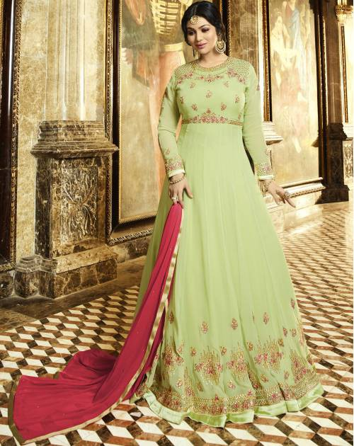 Craftsvilla Green Embroidered Circular Semi-stitched Anarkali Suit