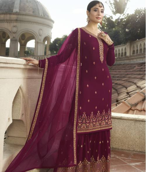 Craftsvilla Purple Georgette Embroidered Semi-stitched Sharara Suit