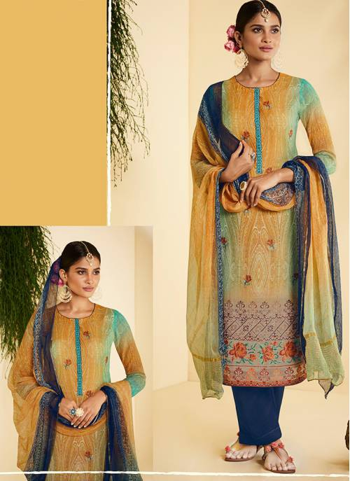 Craftsvilla Multicolor Georgette Printed Semi-stitched Straight Suit