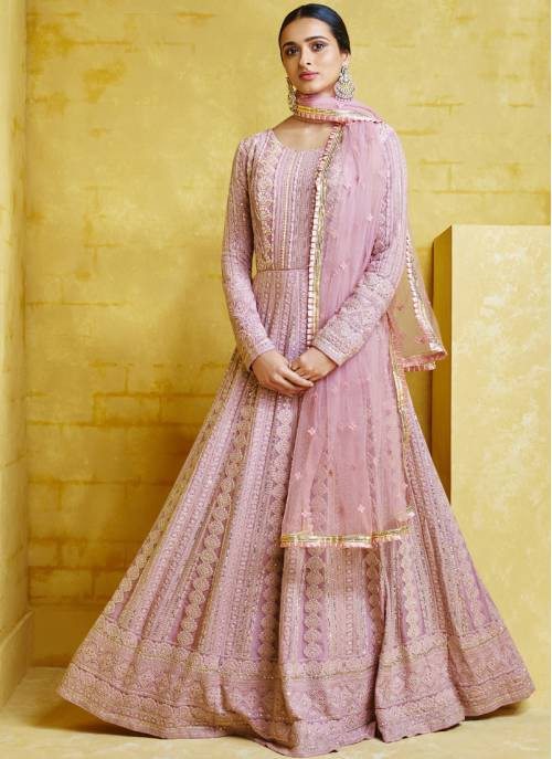 Pink Net Embroidered Circular Readymade Anarkali Suit