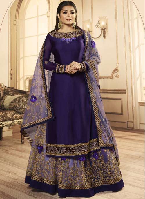 Purple Georgette Embroidered Semi-stitched Straight Suit