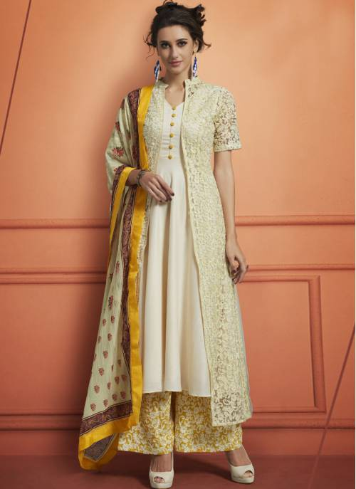 Craftsvilla Off White Silk Embroidered Readymade Palazzo Suit