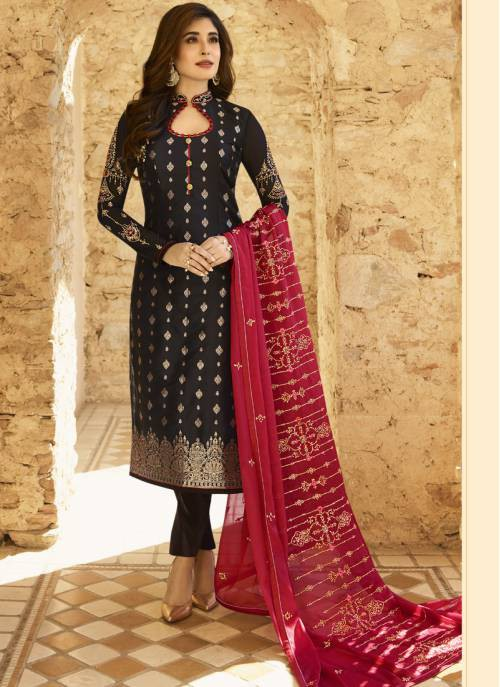 Craftsvilla Black Jacquard Embroidered Semi-stitched Straight Suit