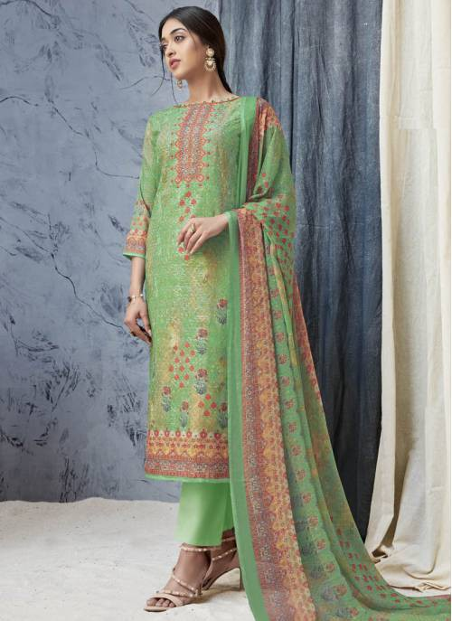 Craftsvilla Light Green Cotton Printed Semi-stitched Salwar Suit