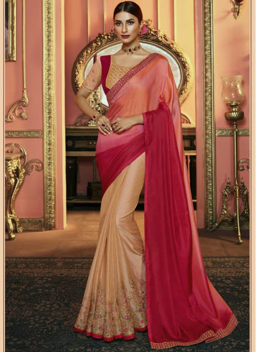 Cream Silk Designer Embroidered Saree With Unstitched Blouse Material
