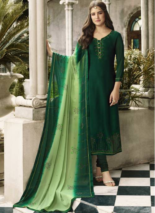 Craftsvilla Green Georgette Embroidered Semi-stitched Straight Suit