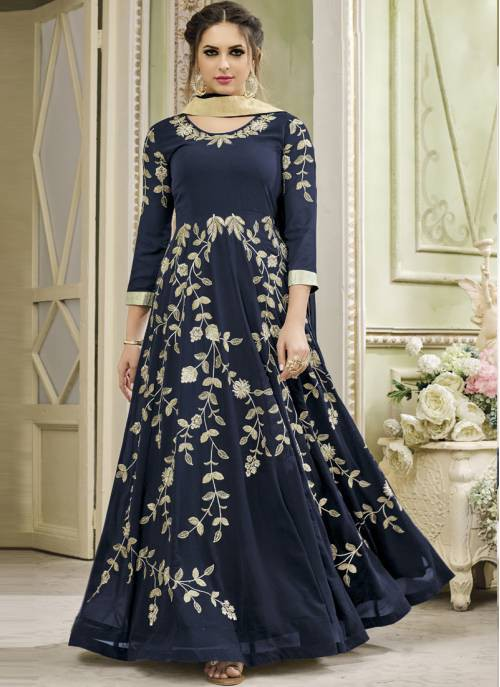 Craftsvilla Blue Color Georgette Embroidered Circular Semi-stitched Anarkali Suit