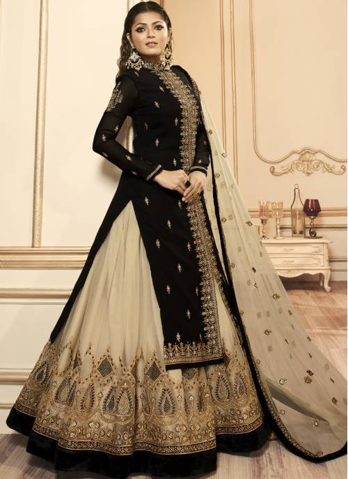 Black Georgette Embroidered Semi-stitched Straight Suit