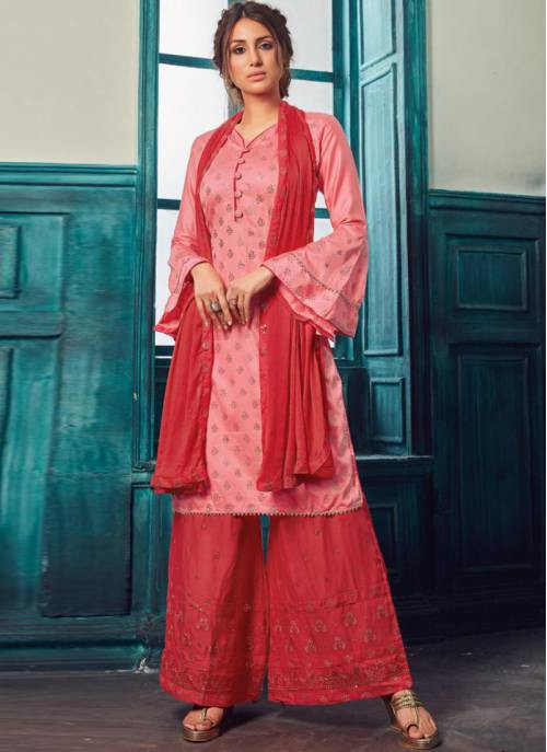 Pink Satin Embroidered Semi-stitched Straight Suit