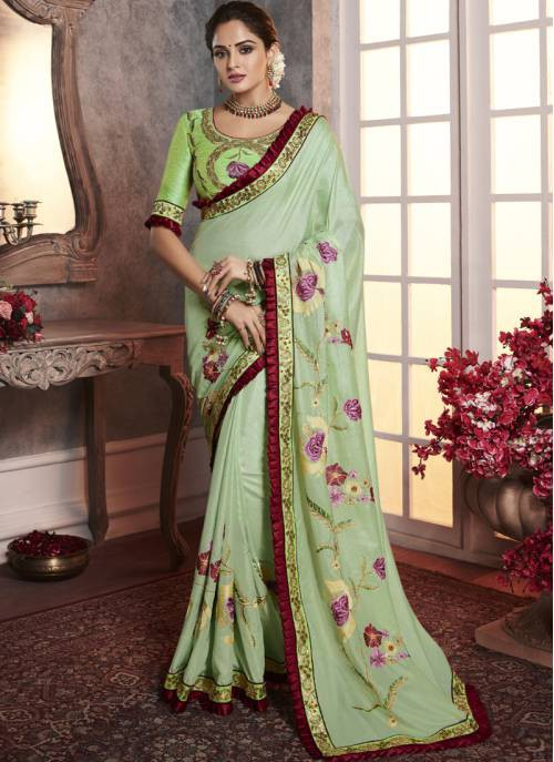 Green Silk Designer Embroidered Saree With Unstitched Blouse Material