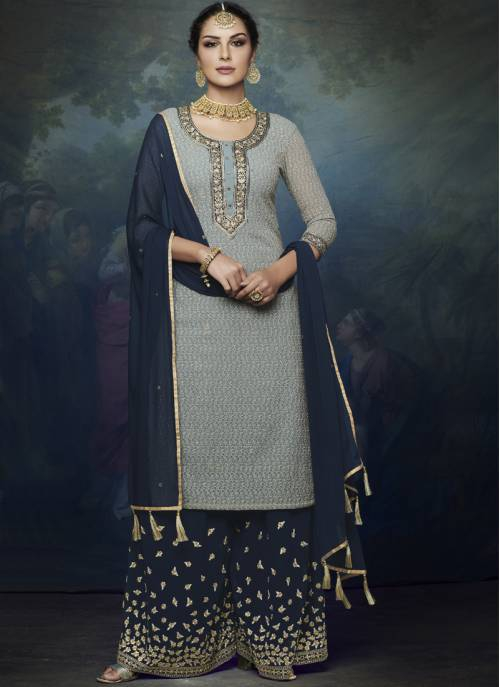 Grey Georgette Embroidered Straight Palazzo Suit
