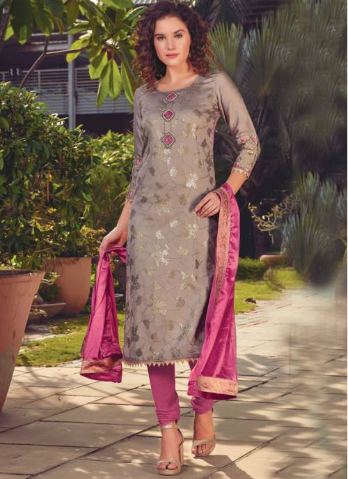 Beige Silk Embroidered Semi-stitched Straight Suit
