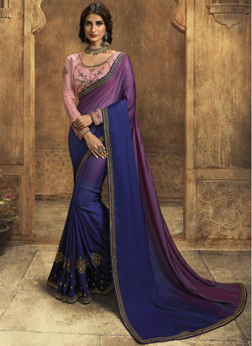 Craftsvilla Blue Silk Designer Embroidered Saree With Unstitched Blouse Material