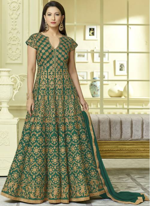 Craftsvilla Green Color Silk Embroidered Semi-stitched Circular Anarkalli Suit