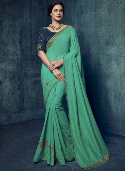 Turquoise Silk Embroidered Designer Saree With Unstitched Blouse Material