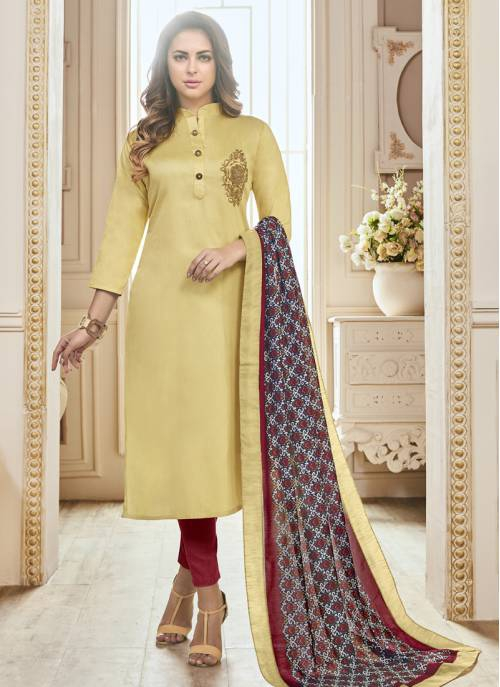 Craftsvilla Yellow Color Cotton Embroidered Fully Stitched Salwar Suit