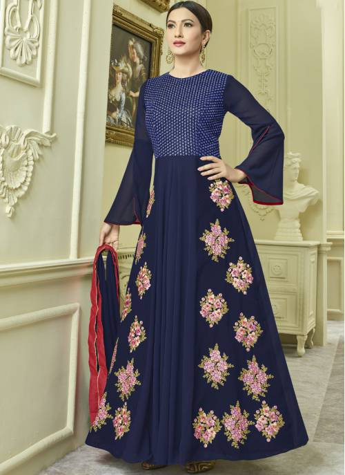 Craftsvilla Navy Blue Color Georgette Embroidered Semi-stitched Circular Anarkali Suit