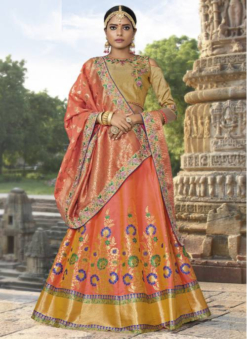 Craftsvilla Peach Jacquard Embroidered Designer Semi-stitched Lehenga Choli