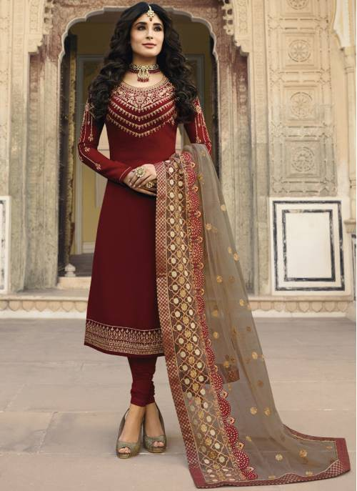 Red Georgette Embroidered Unstitched Churidar Suit