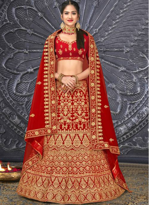 Red Velvet Embroidery Designer Wedding Lehenga Choli