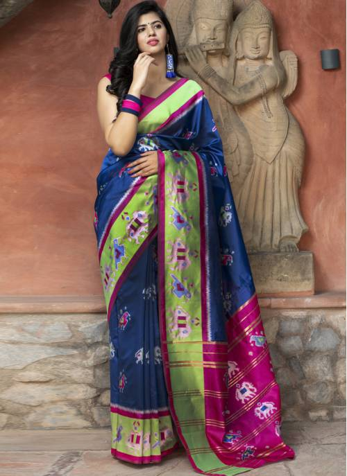 Blue Silk Designer Patola Saree With Blouse Piece