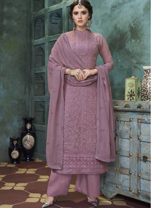 Violet Georgette Embroidered Straight Kurta With Palazzo Dupatta Set