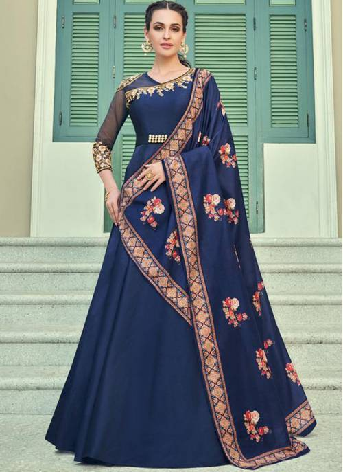 Navy Blue Silk Blend Embroidered Designer Anarkali Gown