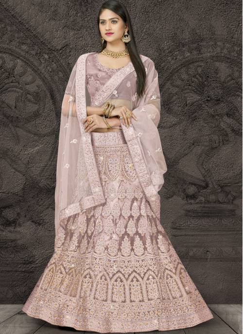Light Pink Net Embroidery Designer Wedding Lehenga Choli