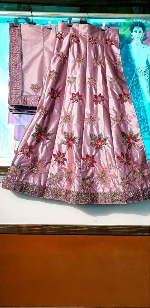 Pink Silk Patch Work Semi-stitched Lehenga Choli