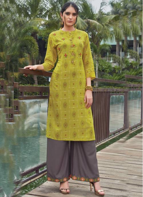 Light Green Rayon Printed Kurta With Palazzo Set