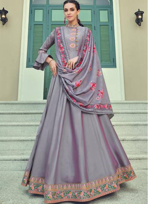 Violet Silk Blend Embroidered Designer Anarkali Gown