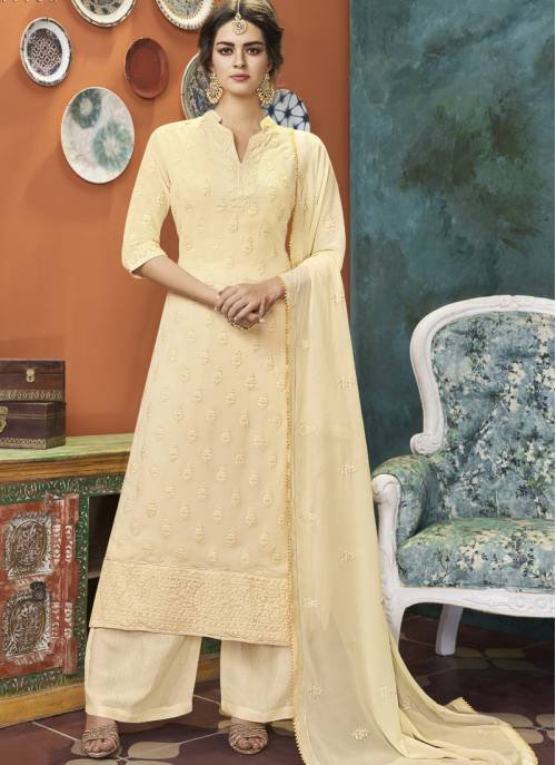 Off White Georgette Embroidered Straight Kurta With Palazzo Dupatta Set