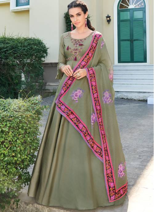 Turquoise Silk Blend Embroidered Designer Anarkali Gown